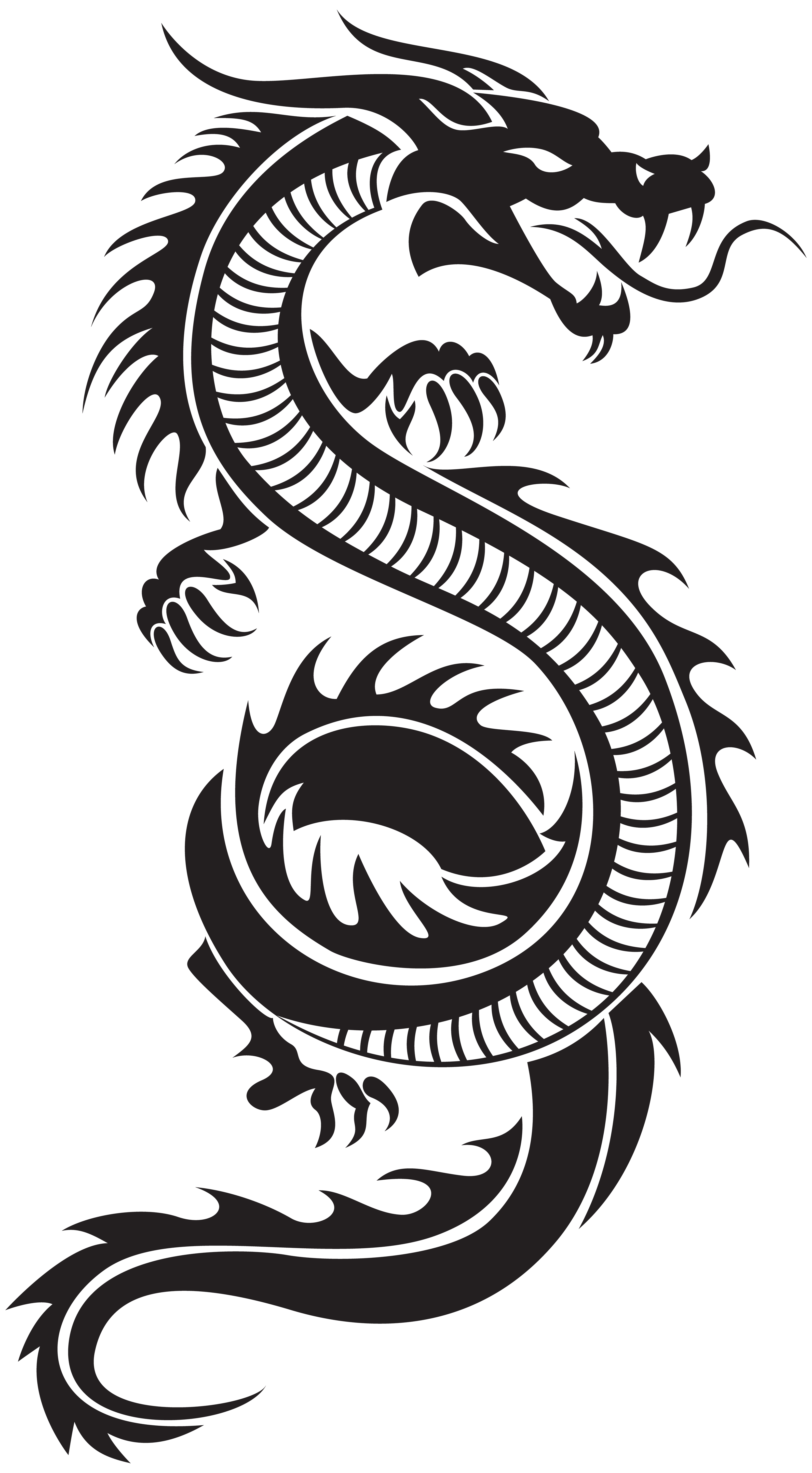 Chinese Dragon Silhouette PNG Clip Art.