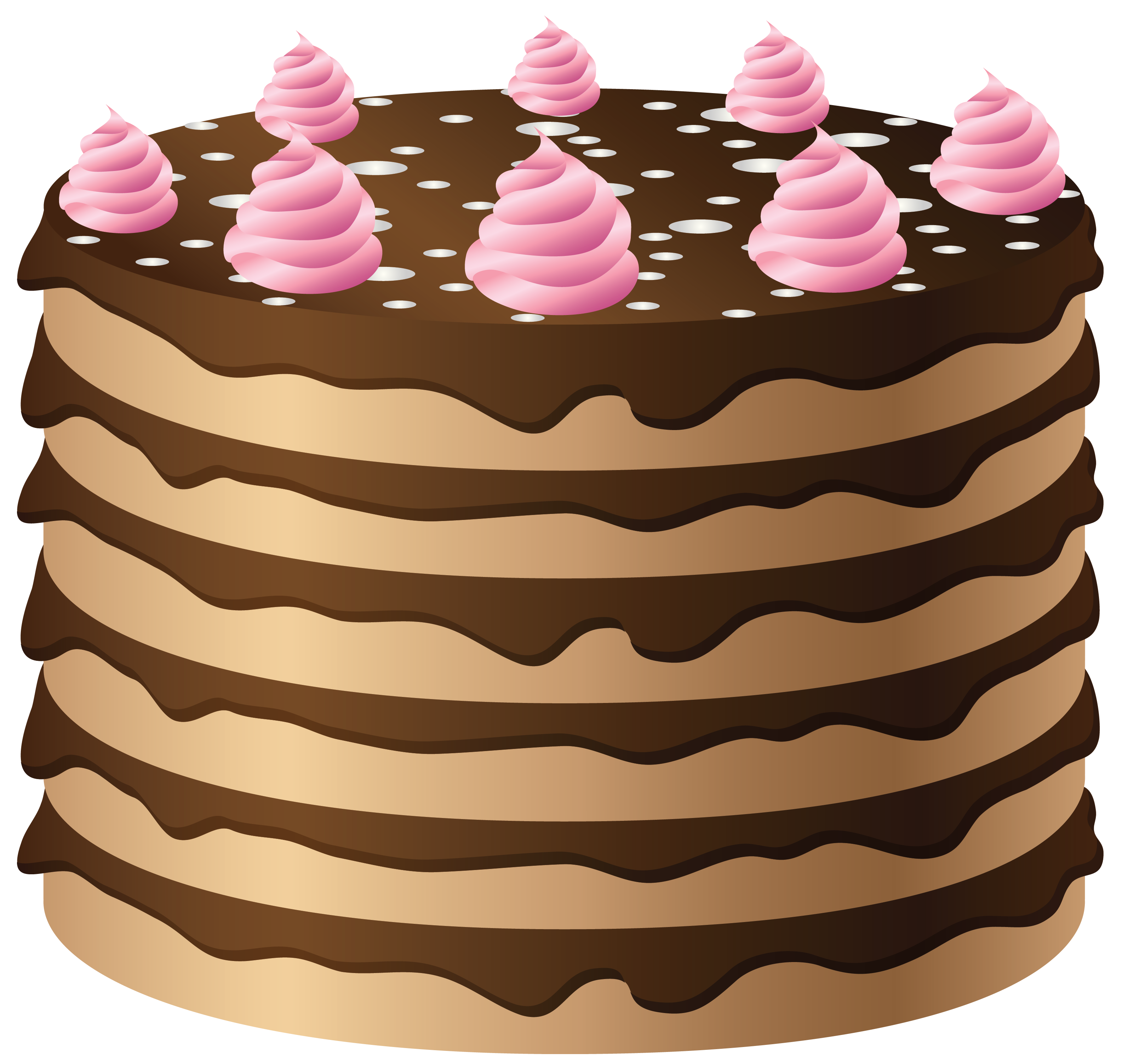 Chocolate Cake with Pink Cream PNG Clipart.