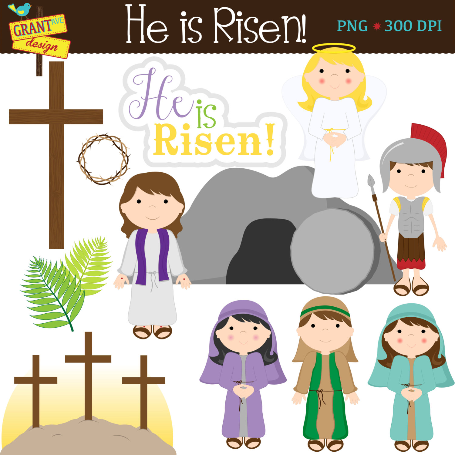 Clipart Of Christian Easter Objects.