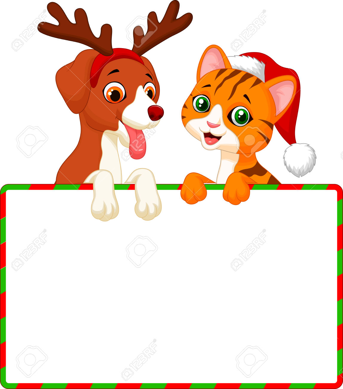 Clipart Christmas Dog And Cat.