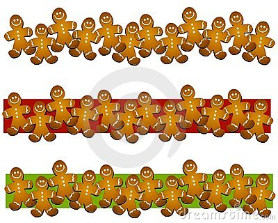 Gingerbread Man Cookie Borders Stock Photography.