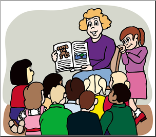 Clip Art: Teacher Reading to Class Color I abcteach.com.