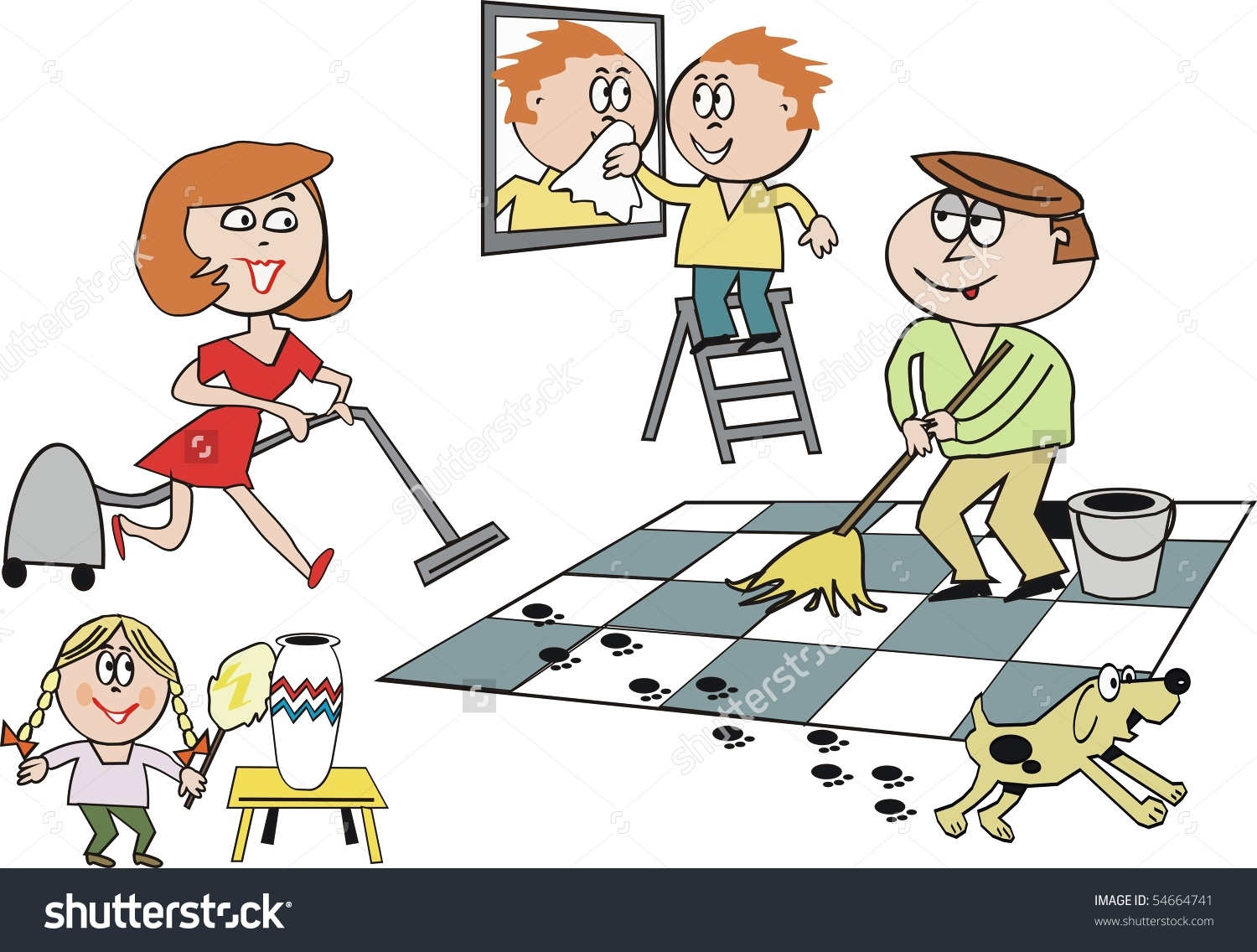 clipart of cleaning the house #15