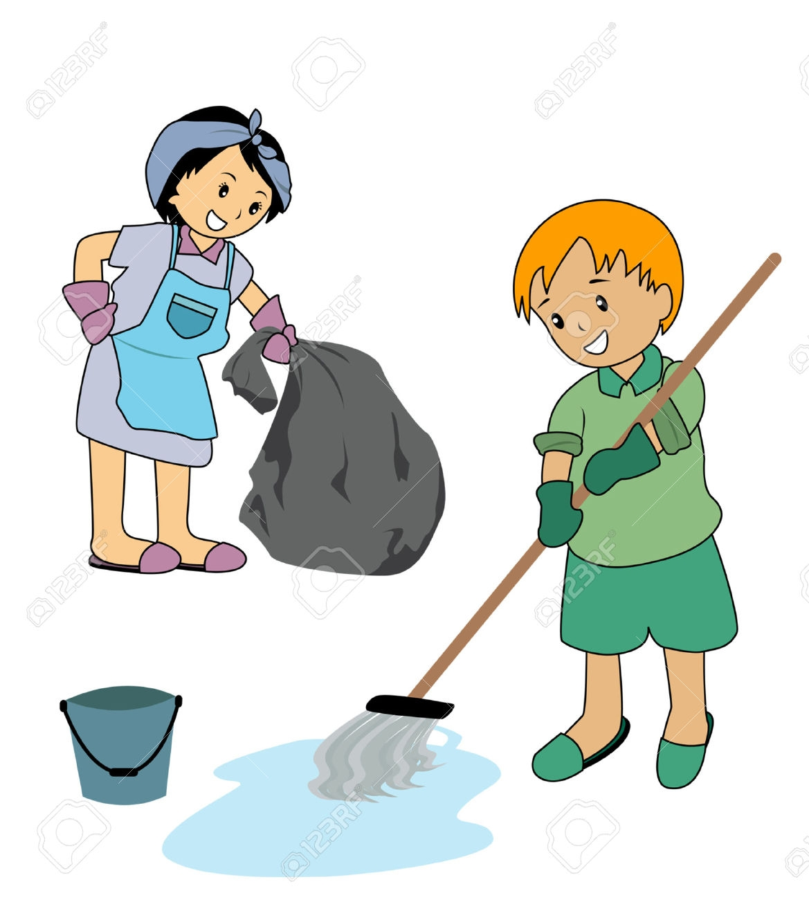 Kids Cleaning The House Clipart.