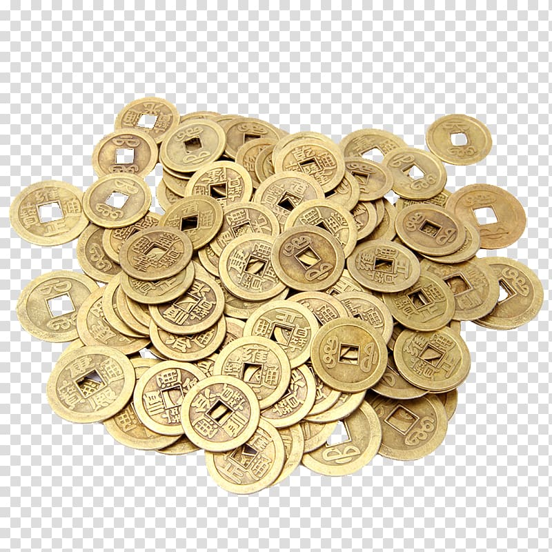Coin Cash, A pile of coins transparent background PNG.