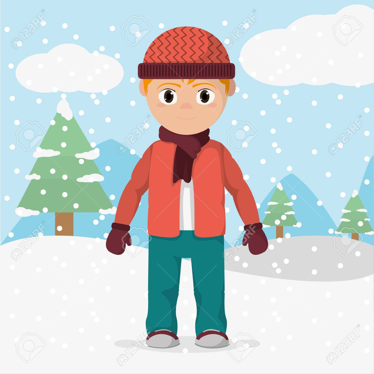 Boy with winter clothes and cold weather illustration..