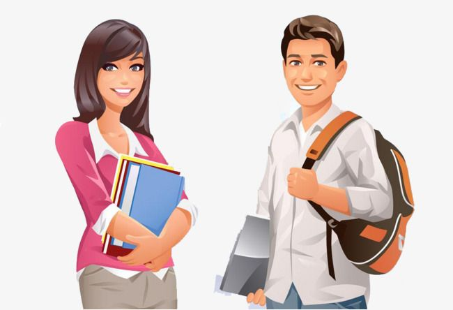 Male And Female Cartoon College Students, Cartoon Clipart.