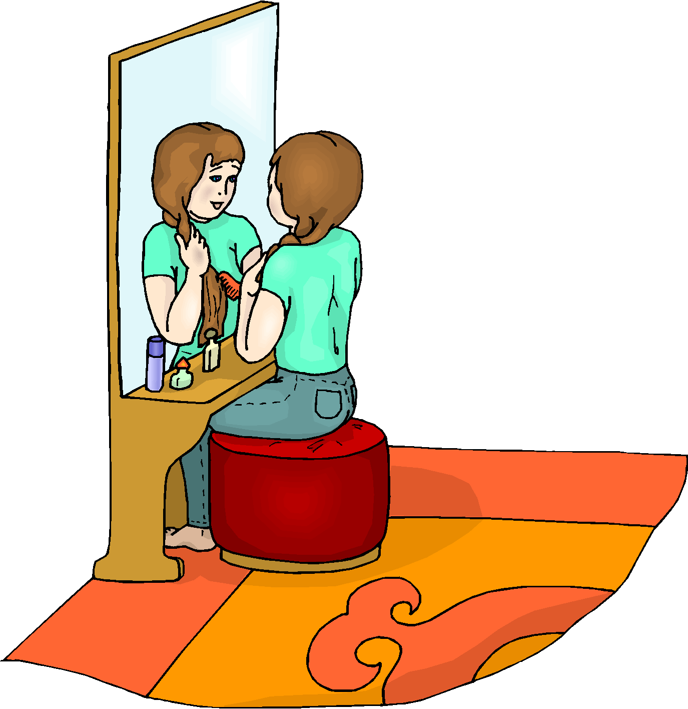 Girl Combing Hair Free Clipart.