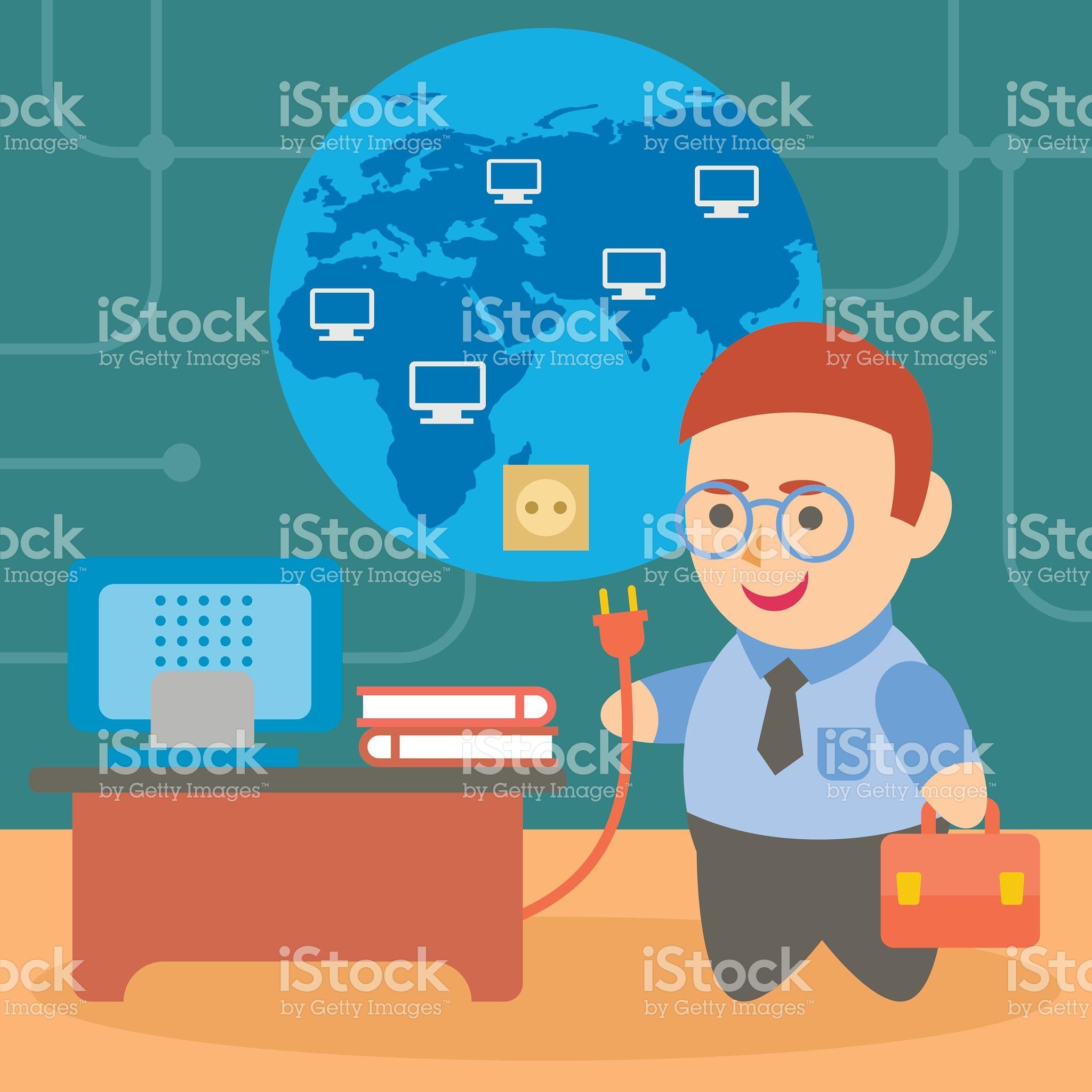 Businessman Connect Internet stock vector art 625605638.