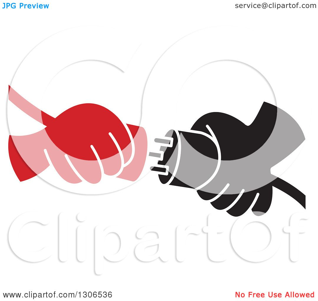 Clipart of Red and Black Cartoon Hands Connecting Plugs.