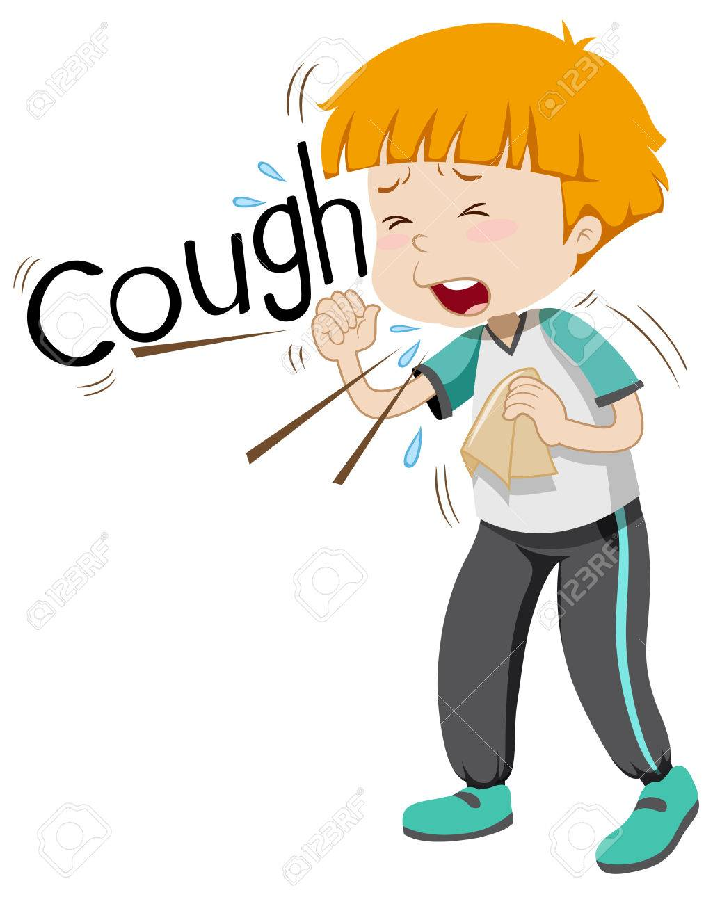 Sick boy coughing hard illustration.