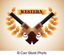 Vector Clip Art of Country Western banner with Stetson hat and.