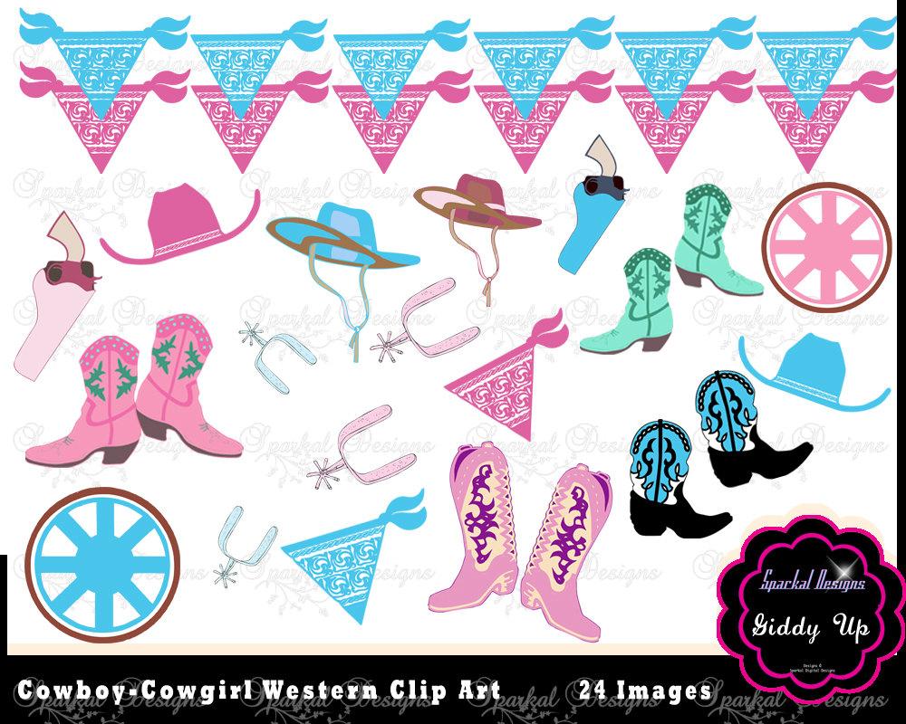 Cowboy Clip Art Western Clipart Bandana Banner Clipart Pink.
