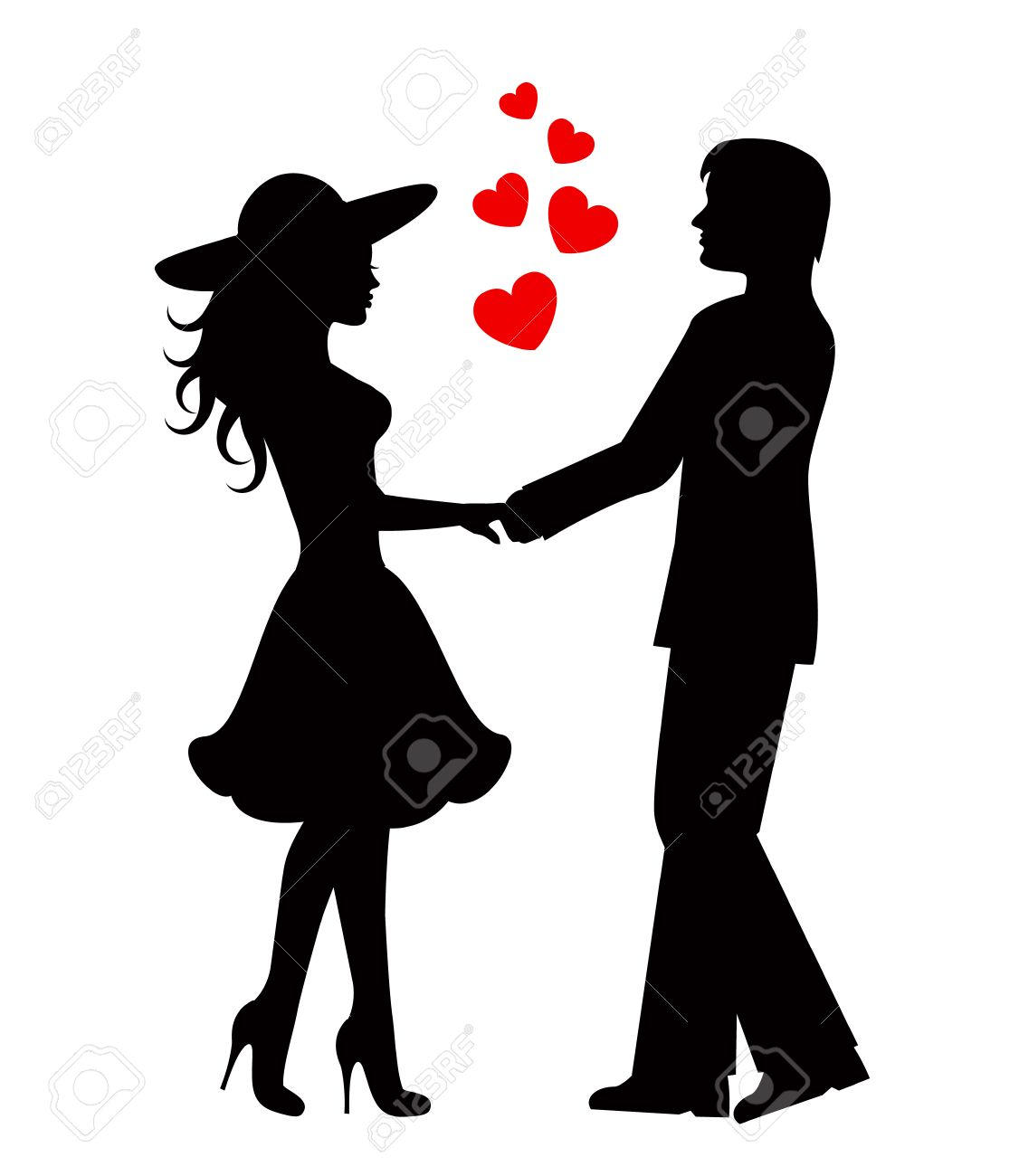 Silhouettes of loving couple Black against white background.