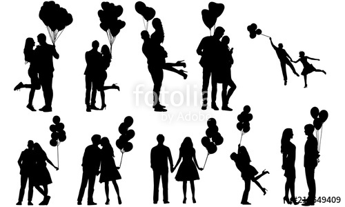 Couples with Balloons Silhouette.