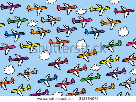 Clipart of crowded airspace.