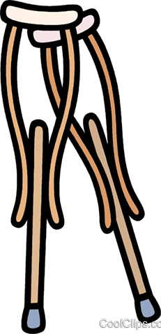 medical, crutches Royalty Free Vector Clip Art illustration.