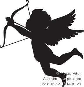 Clipart Illustration of a Silhouette of Cupid Shooting an Arrow.