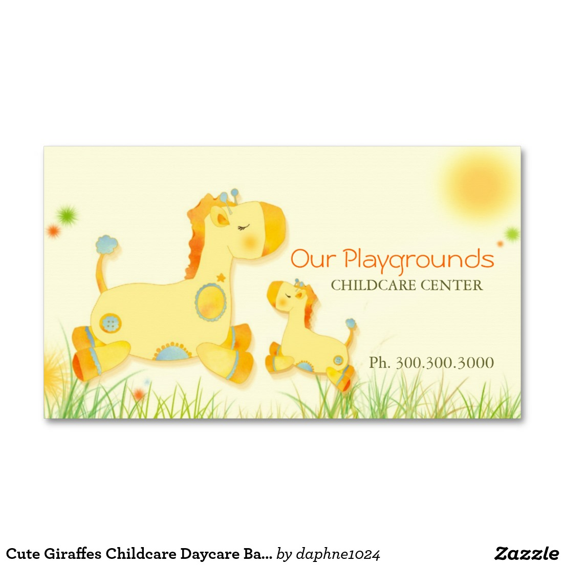 Cute Baby Giraffes Childcare Daycare Center Business Card.