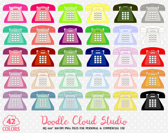 42 Colorful Telephone Clipart Cute Retro Vintage Old Phone.