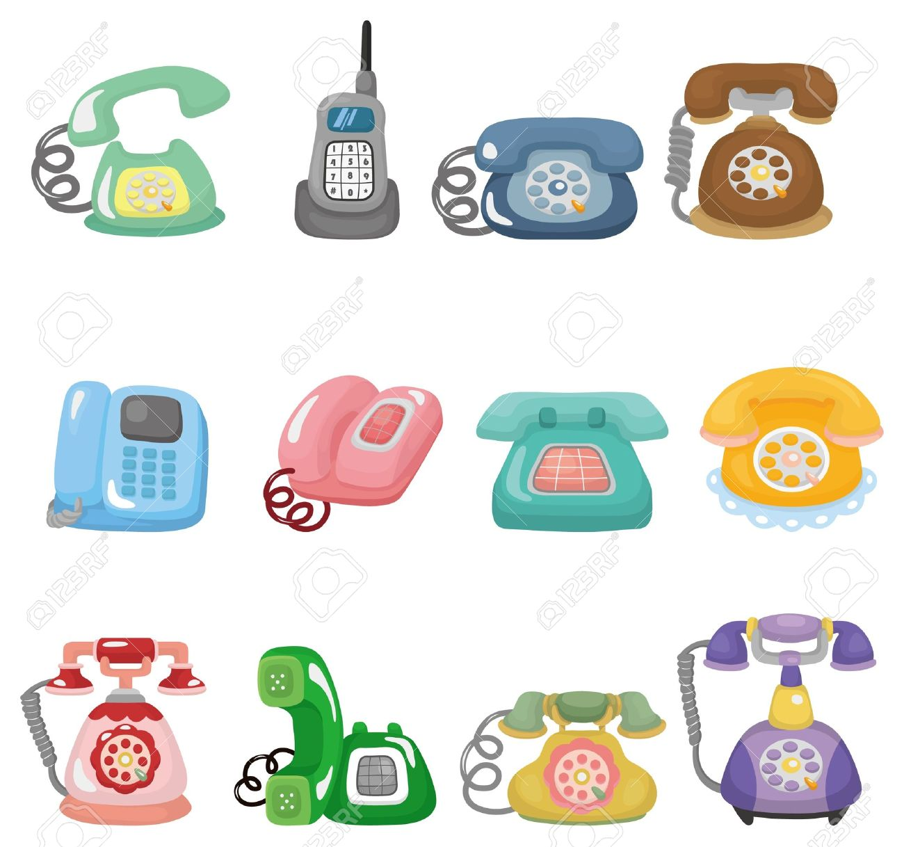 Clipart Of Cute Old Fashion Phones.