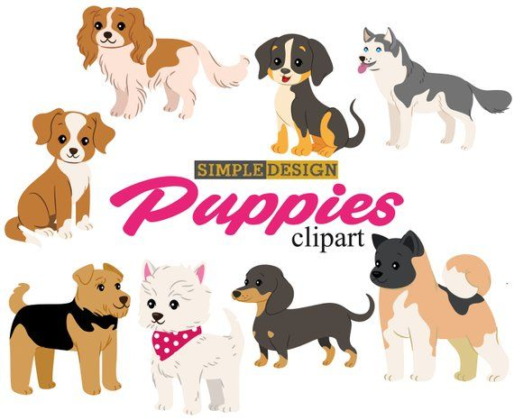 Puppy clipart, Dog clipart, Pet clipart, Dog clip art, Puppies.