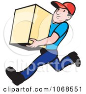 Clipart Retro Delivery Man And Truck.
