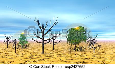 Clip Art of Dead and alive trees in the desert.