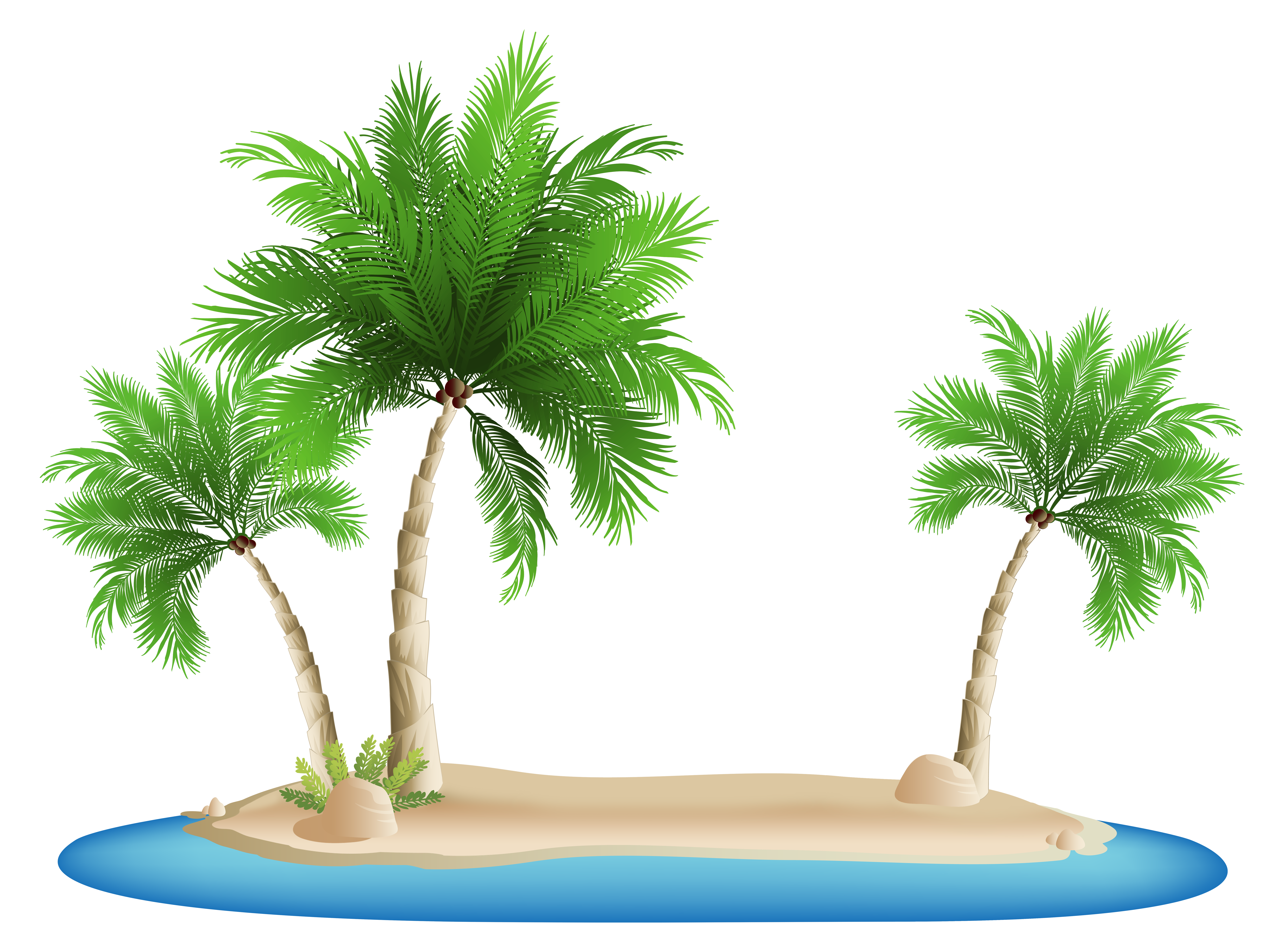 Palm Trees Island PNG Clipart Image.