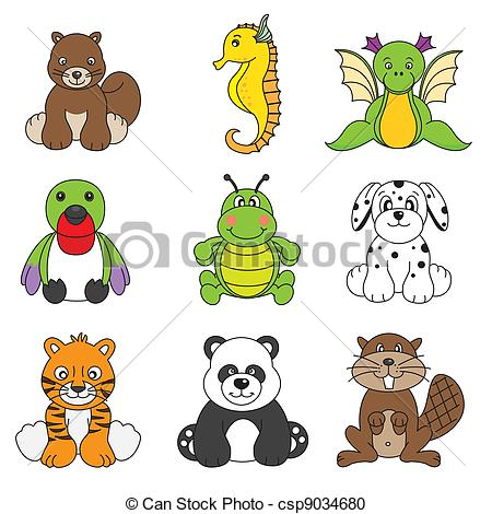 Vector set of different cute animal.