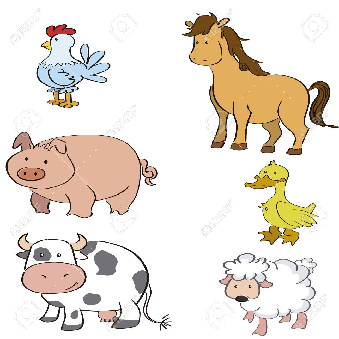 a set of different farm animals on a white background.