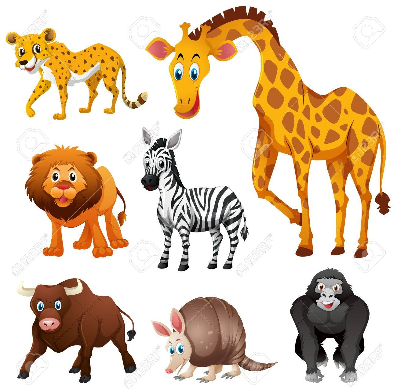 At Jungle Animals Clipart Vector 78845815 Different Types Of Animal.