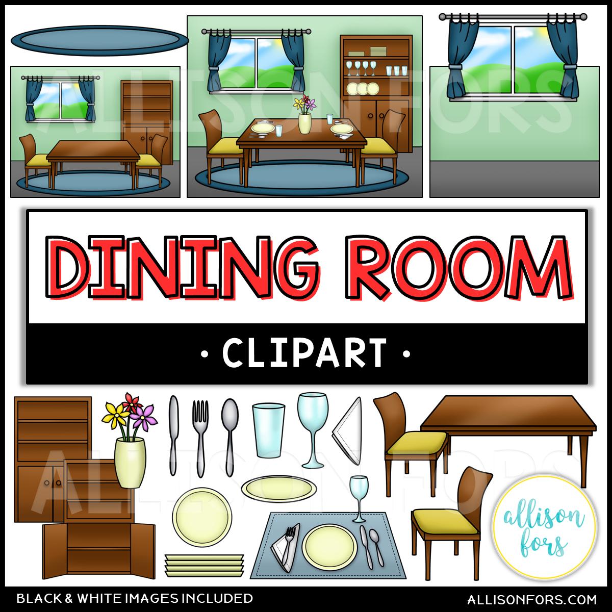 House: Kitchen & Dining Room Clip Art Bundle.