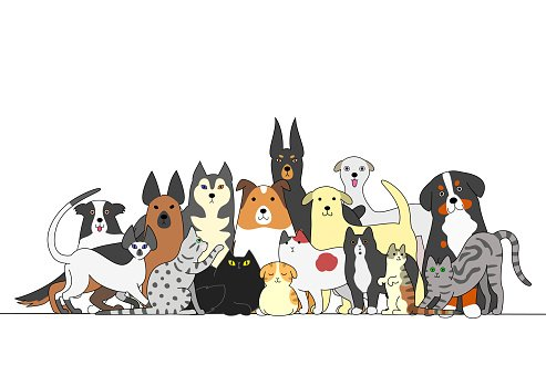 Group of dogs and cats Clipart Image.