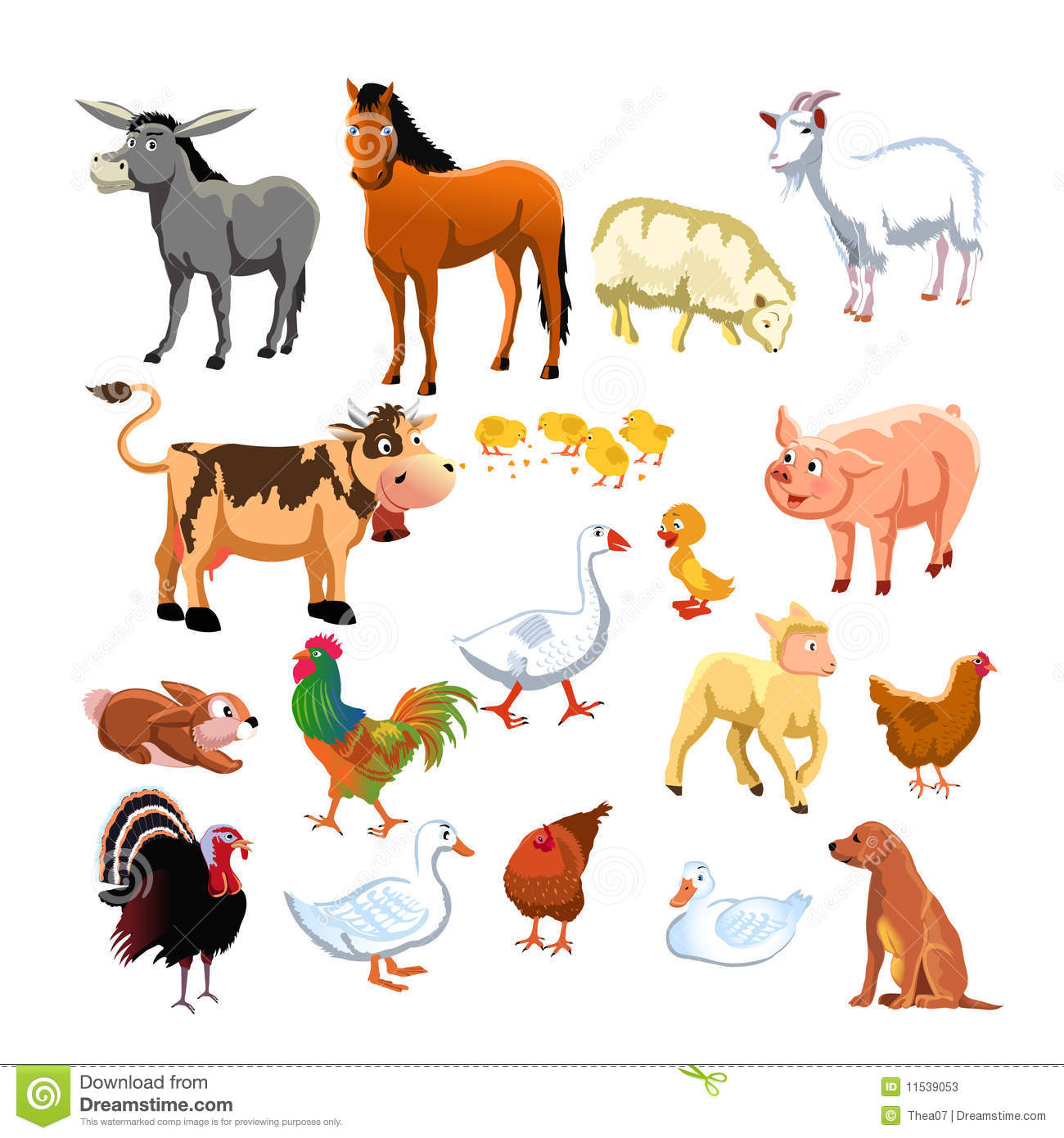 Domestic Farm Animals Clipart.
