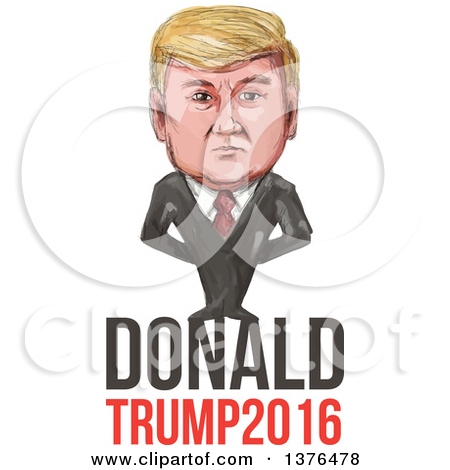Clipart of a Cartoon Caricature of Donald Trump Holding up a.