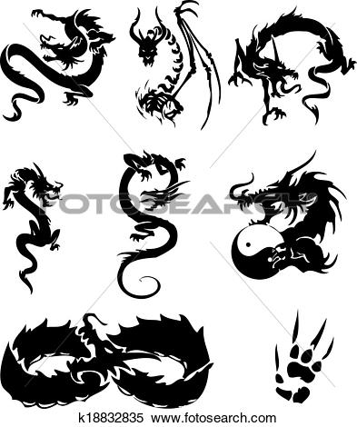 Clipart of Dragons, tattoo k18832835.