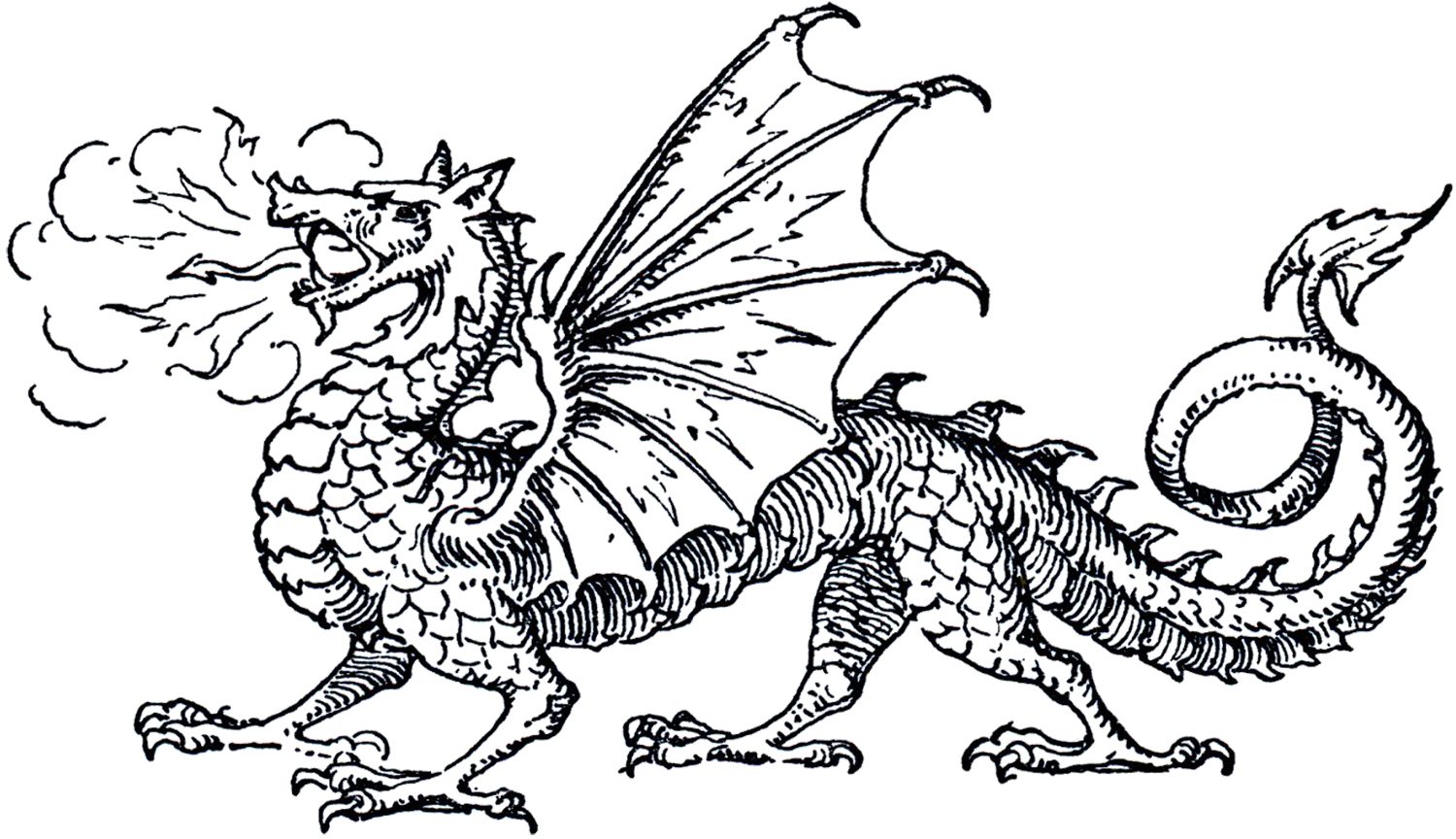 Clipart Of Medieval Love Dragons.