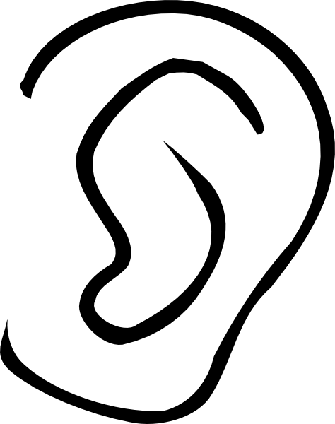 Black And White Clipart Ear.
