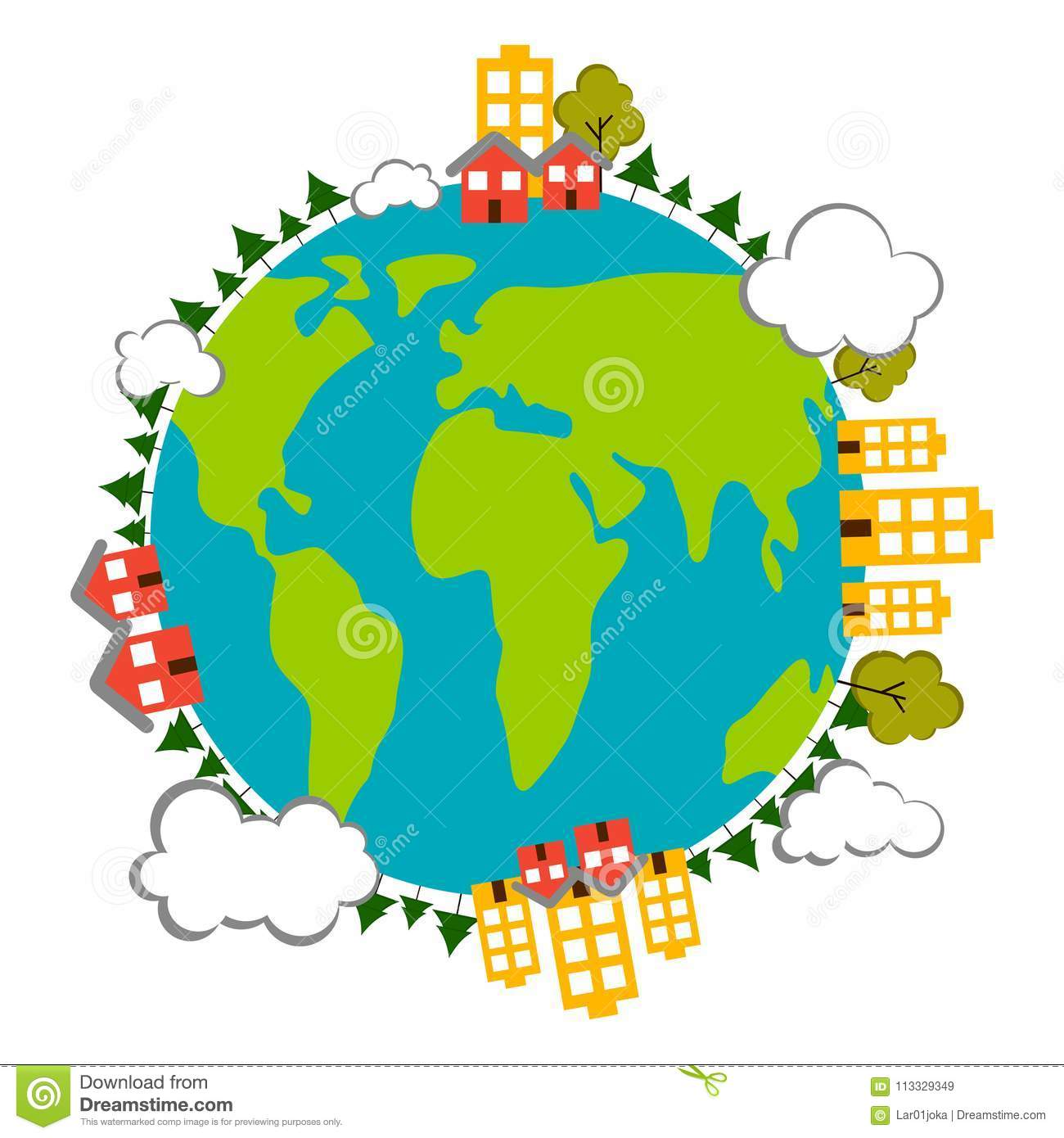 Earth With Buildings Icon. Earth Day Stock Vector.