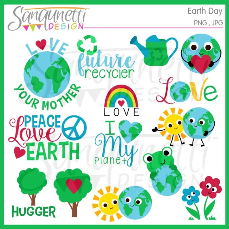 Earth Day Clipart, earth clipart, recycle clipart, environmental clipart,  nature clipart, peace clipart, instant download.