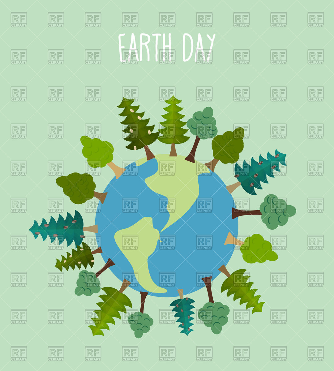 Earth day. Earth with trees. Stock Vector Image.