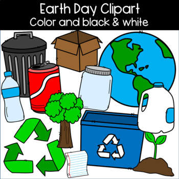 Earth Day Clipart: Earth, Recycling, Plant, Tree, Plastic Bottles, Glass  Jar, +.