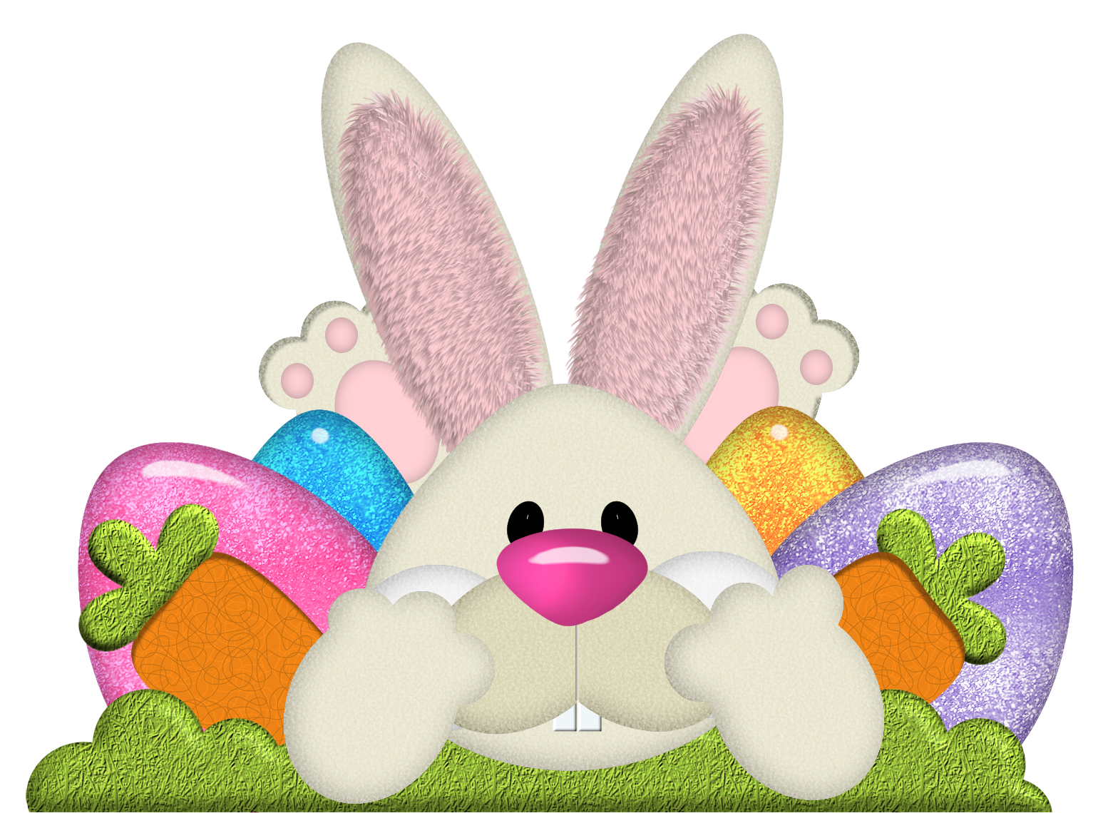 Easter Bunny with Eggs Transparent PNG Clipart.