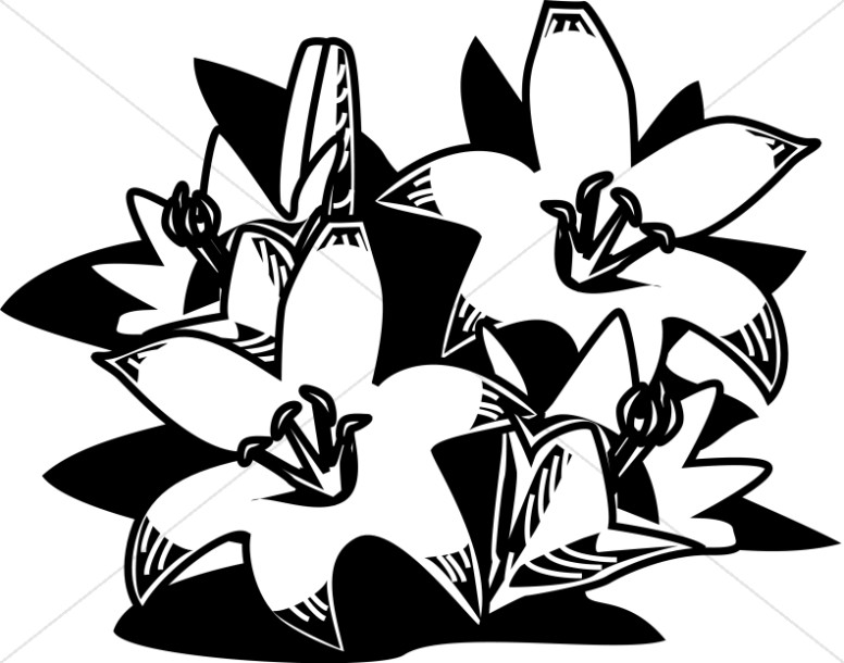 Woodcut Style Easter Lilies.