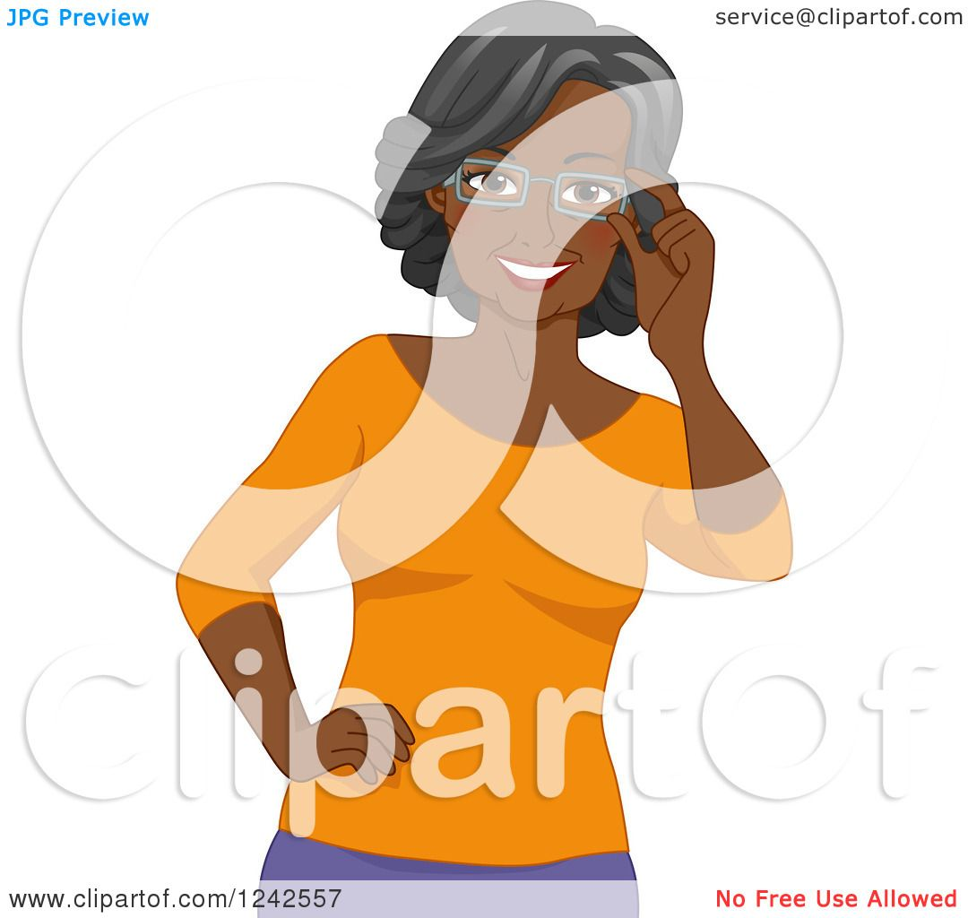 Clipart of a Happy African American Senior Woman Touching Her.