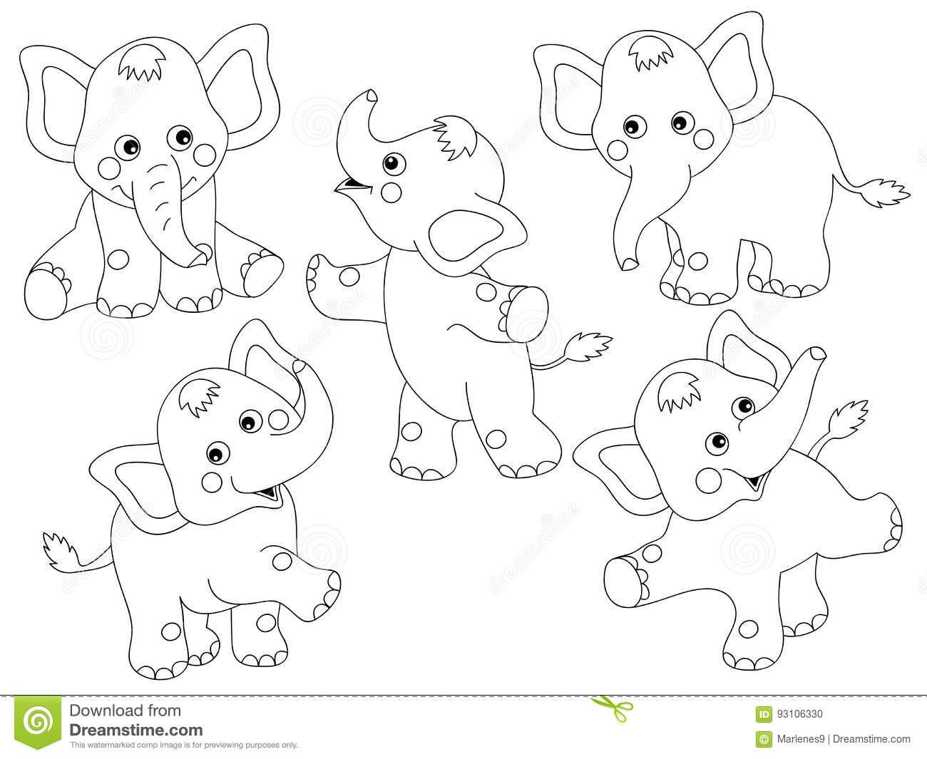 Vector Elephants Set stock vector. Illustration of happy.