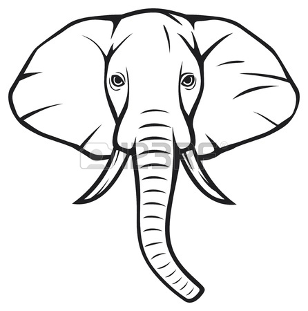 Elephant Face Clipart Outline.