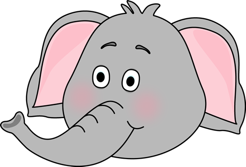 Cute Elephant Face Clipart.
