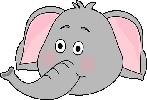 Cute Elephant Face Clipart.